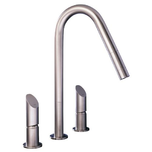 MGS T45 E Three Hole Stainless Steel Kitchen Tap